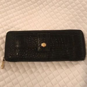 Black leather crocodile embossed wallet by Lodis